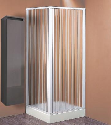 Box doccia cabina angolare pvc a soffietto riducibile cm 110/80 x 110/80 bianco