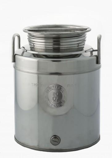 Bidone contenitore acciaio inox x olio 20 litri con maniglie