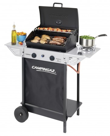 Barbecue a gas Campingaz a pietra lavica con termometro ruote fornello laterale