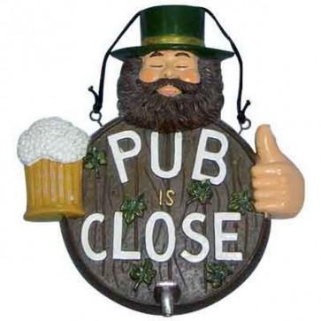 Insegna pub cm.31 chiuso arredo bar arredo locale close pupo con birra arredo