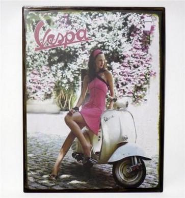 Riproduzione targa storica pubblicita' vespa donna metallo colori collezionismo