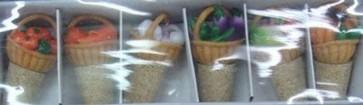 Tappi sughero cm.6 set 6pz con decoro cesto frutta bottiglie casa cucina