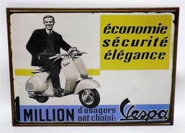 Riproduzione targa storica pubblicita' vespa economie