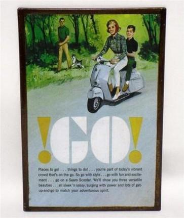 Riproduzione targa storica pubblicita' vespa go colori metallo collezionismo