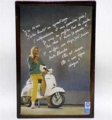 Riproduzione targa storica pubblicita' vespa lettera color metallo collezionismo
