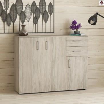 Madia credenza moderna soggiorno con 3 ante e 2 cassetti mobile in legno chiaro