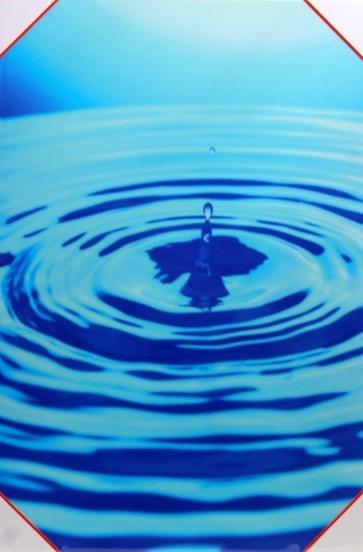 Quadro moderno stampa digitale su legno raffigurazione goccia azzurra 40x60x4 cm