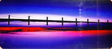 Quadro stampa digitale su legno raffigurazione tramonto ponte 120x50x4 cm
