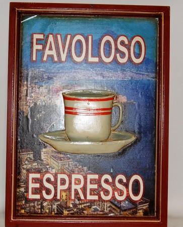 Quadro in legno favoloso espresso tazza in rilievo cm 54x39 per locale bar
