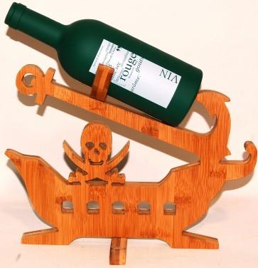 Porta bottiglie vino in legno bamboo 31x25 cm nave pirata portabottiglie arredo