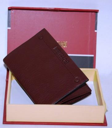 Porta carte di credito tessera in pelle marrone scuro cm 11x7 scomparti 3