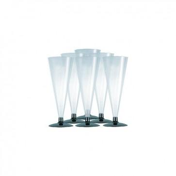 Flute in plastica trasparente Set 6 pz bicchieri calici champagne spumante 170cc