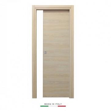 Porta scorrevole a scomparsa 80x210 legno mdf da interno muro rovere sbiancato