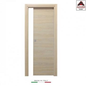 Porta scorrevole a scomparsa 70x210 legno mdf da interno muro rovere sbiancato