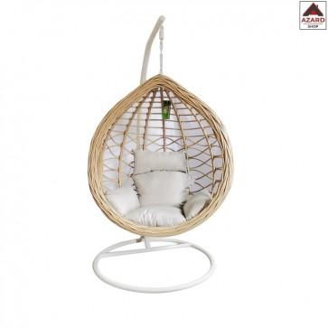 Poltrona sospesa poli rattan sedia amaca dondolo da giardino altalena cuscini