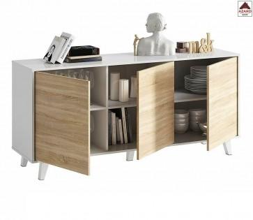 Mobile credenza moderna bianca con 3 ante in legno rovere soggiorno buffet madia