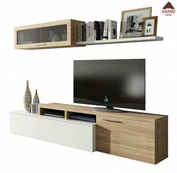 Parete attrezzata moderna mobile tv soggiorno kit pensile sospeso mensola legno