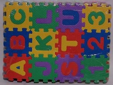 Tappeto tappetino gomma set 36 pezzi cm.6x6x0,5 gioco bambino pavimento