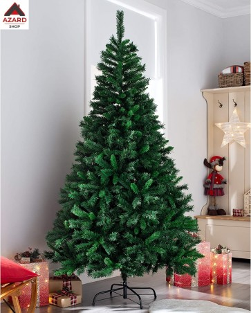 Albero di Natale 240 cm verde artificiale 2721 rami apertura ad ombrello