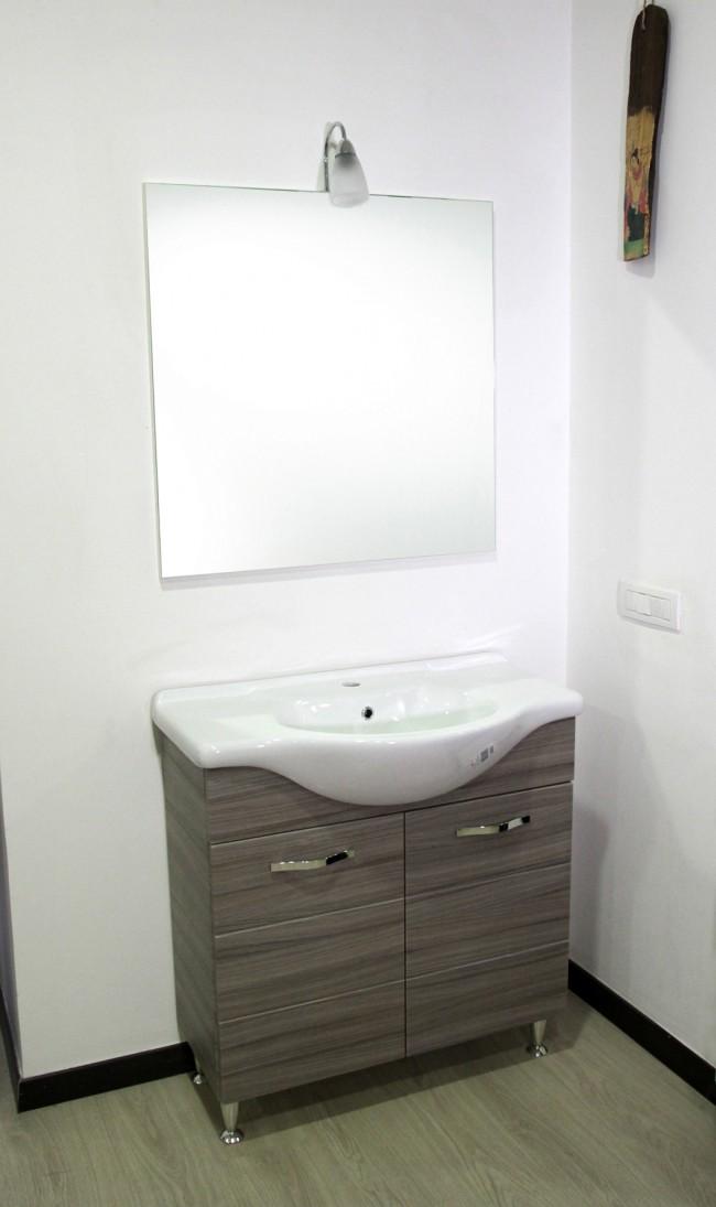Mobile bagno 2 ante + specchio illuminato + lavabo h 85