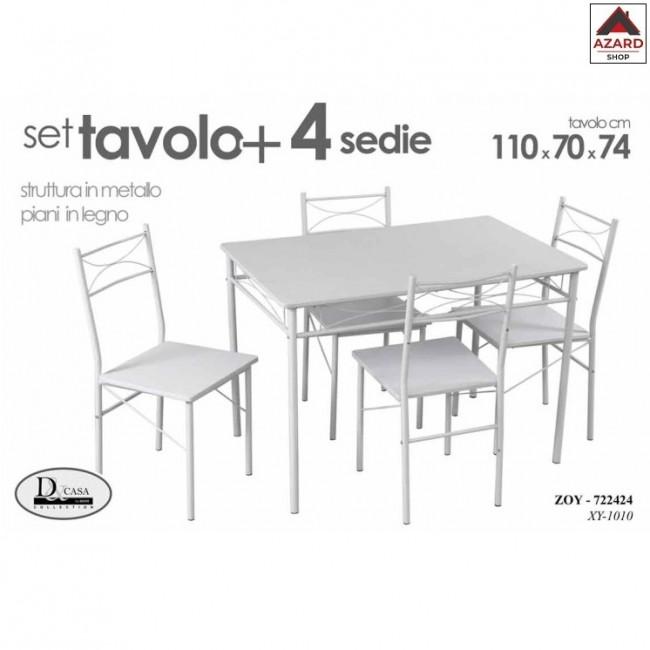Set Tavolo Con Quattro Sedie Bianco Metallo Legno Cm 70 X 110 X 74 H
