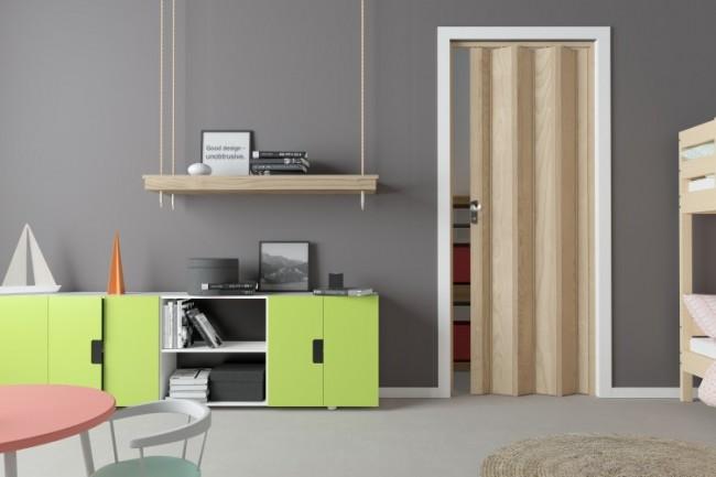 Porta a soffietto in pvc effetto legno colore faggio 3d 88,5x214 cm facile  da montare