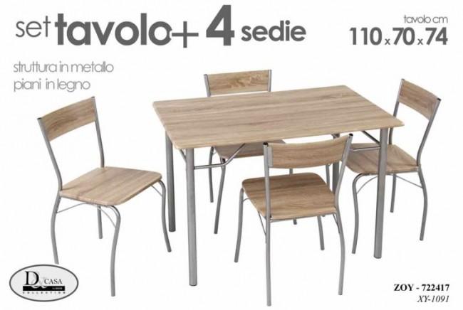 Tavolo In Legno Con 4 Sedie.Set Tavolo Con 4 Sedie Legno 110x70x74 Cm