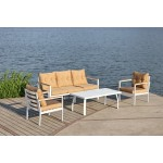 Set salotto da giardino bianco salottino esterno acciaio divano poltrona tavolo