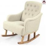 Poltrona a dondolo in tessuto beige sedia legno relax imbottita oscillante