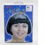 Parrucca wig perruque liscia corta nera party carnevale scherzo gioco