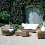 Poltrona giardino in abaca c/cuscino ecru122x93x75h