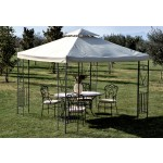 Gazebo giardino in metallo decorato 3x3 mt top ecru con air vent top 220 g/mq