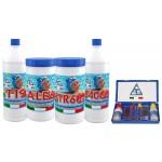 Kit completo manutenzione piscina antialghe cloro correttore analisi acqua 4+1