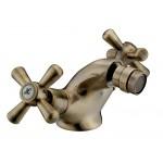 Rubinetto miscelatore bidet ottone finitura bronzo manopole a croce