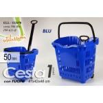 Cesta cestino trolley spesa blu 50 lt 47 * 42 * 48 cm con rotelle 532078