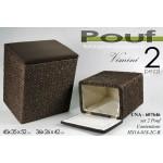 Pouf contenitore marrone in vimini porta biancheria set 2 pezzi