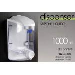 Dispenser erogatore sapone liquido da parete 1 lt dosatore da bagno portasapone