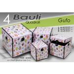 Baule salva spazio quadrato rigido set 4 pezzi con gufi
