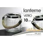 Vaso vasetto lanterna h 10 cm porta candela in vetro manico corda