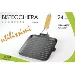 Piastra bistecchiera 24 cm extra ghisa piena rettangolare