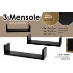 3 mensole da parete in legno nero kit montaggio incluso 42/34/26 cm