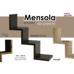 Mensola da parete in legno a scala+kit montaggio 43x43x12 cm