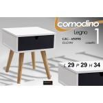 Mobile comodino in legno 1 cassetto 29x29x34 cm bianco/grigio