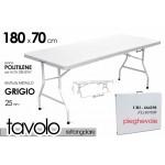 Tavolo campeggio bianco in resina metallo in valigetta richiudibile cm 180x70 picnic