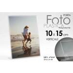 Cornice portafoto in plastica trasparente verticale 10x15 cm porta menu