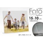 Cornice portafoto in plastica trasparente orizzontale 15x10 cm