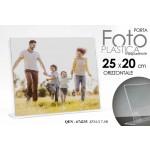 Cornice portafoto in plastica trasparente orizzontale 25x20 cm