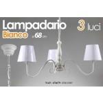Lampadario sospensione shabby tre luci bianco cm 68
