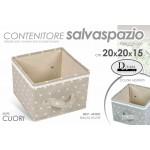 Box scatola 20x20x15 cm beige/tortora pieghevole con manici portabiancheria
