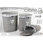 Set 3 ceste ovali biancheria decoro cuore h 55/48/40 cm
